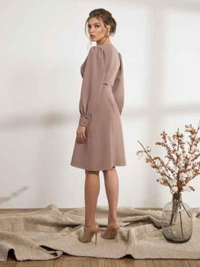 Бежевое платье с расклешенной юбкой - 44207, фото 3 – интернет-магазин Dressa