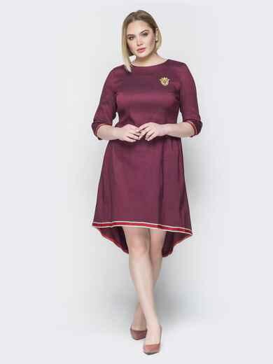 Бордовое платье с репсовой лентой по низу 19763, фото 1