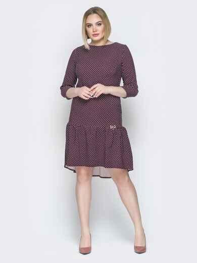 Бордовое платье с воланом по низу и пуговицами сзади - 19765, фото 1 – интернет-магазин Dressa
