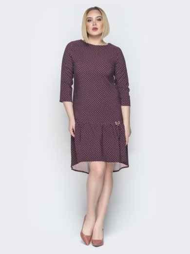 Бордовое платье с воланом по низу и пуговицами сзади - 19765, фото 2 – интернет-магазин Dressa