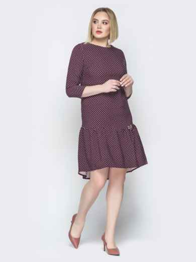 Бордовое платье с воланом по низу и пуговицами сзади - 19765, фото 3 – интернет-магазин Dressa