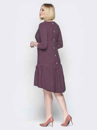 Бордовое платье с воланом по низу и пуговицами сзади - 19765, фото 4 – интернет-магазин Dressa