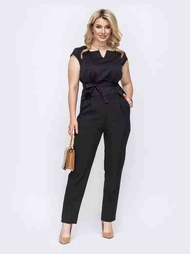 Черный костюм батал из блузки с рукавом крылышко и брюк 49778, фото 1
