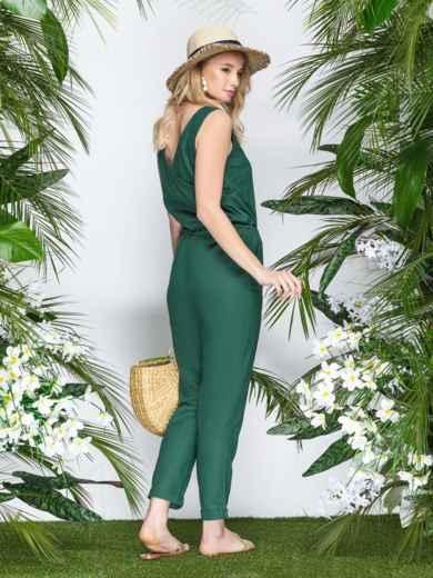 Комбинезон с кулиской по талии и накладными карманами зеленый 21872, фото 1