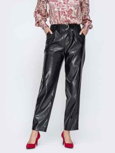 Прямые брюки из эко-кожи с высокой посадкой - 45044, фото 2 – интернет-магазин Dressa