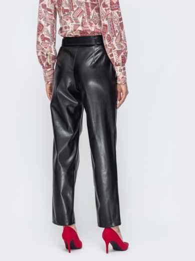 Прямые брюки из эко-кожи с высокой посадкой - 45044, фото 3 – интернет-магазин Dressa