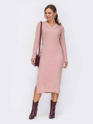 Розовое платье прямого кроя с V-образным вырезом 51967, фото 1