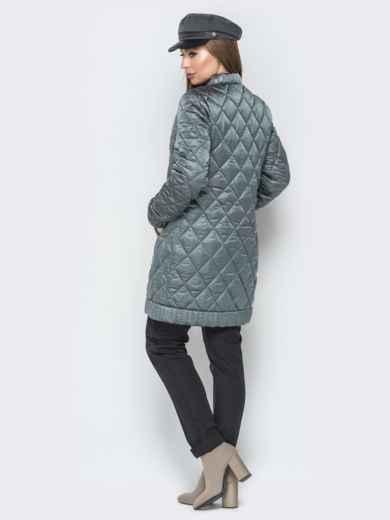 Удлиненная куртка-бомбер на кнопках с карманами зелёный - 20282, фото 2 – интернет-магазин Dressa