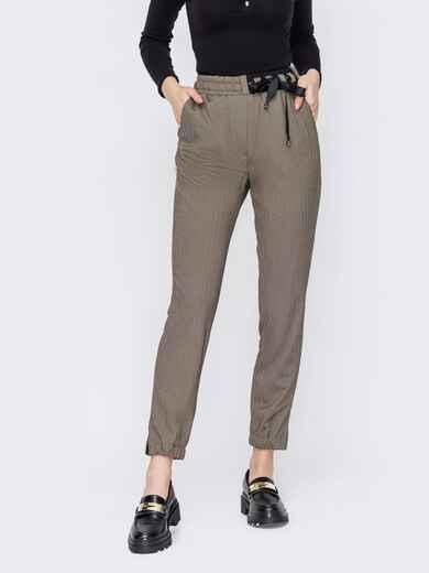 """Бежеві штани на резинці з візерунком """"ялинка"""" 52896, фото 1"""