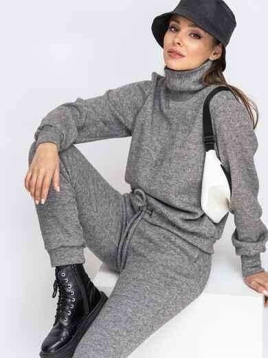 Брючный костюм из ангоры с кофтой серый 51642, фото 1