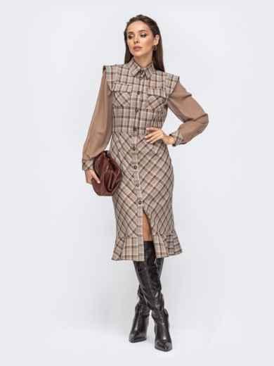 Бежевое платье-рубашка в клетку с шифоновыми рукавами 51435, фото 1