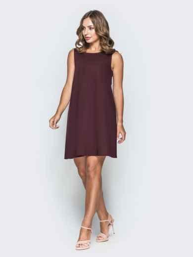 Хлопковое платье трапеция бордового цвета 38884, фото 1