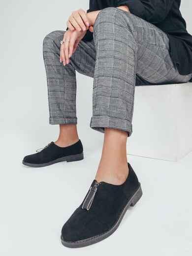 Чёрные туфли из искусственной замши на низком ходу 50581, фото 1