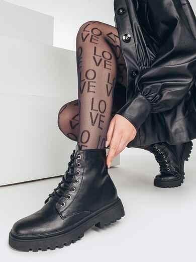 Демисезонные ботинки с рифленой подошвой черные 51800, фото 1