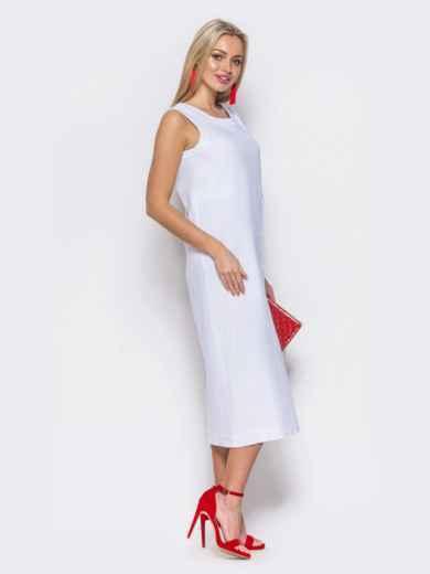 Сарафан с завышенной талией и имитацией застёжки белый - 11872, фото 2 – интернет-магазин Dressa