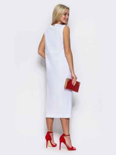 Сарафан с завышенной талией и имитацией застёжки белый - 11872, фото 3 – интернет-магазин Dressa