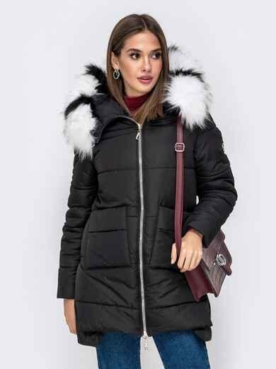 Зимняя куртка с удлиненной спинкой и капюшоном чёрная 41519, фото 1