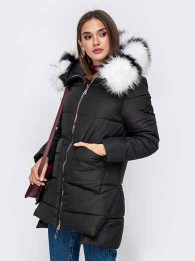 Зимняя куртка с удлиненной спинкой и капюшоном чёрная - 41519, фото 2 – интернет-магазин Dressa
