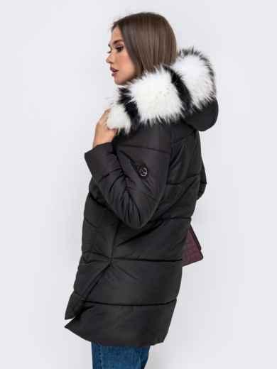 Зимняя куртка с удлиненной спинкой и капюшоном чёрная - 41519, фото 3 – интернет-магазин Dressa