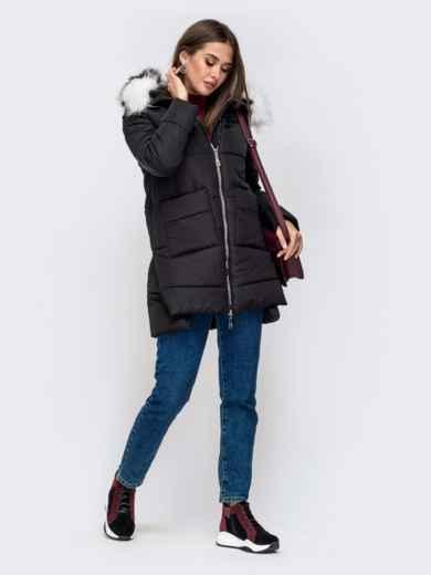 Зимняя куртка с удлиненной спинкой и капюшоном чёрная - 41519, фото 4 – интернет-магазин Dressa