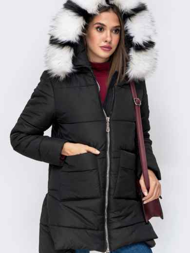 Зимняя куртка с удлиненной спинкой и капюшоном чёрная - 41519, фото 5 – интернет-магазин Dressa