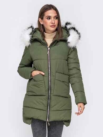 Зимняя куртка с удлиненной спинкой и капюшоном хаки 41521, фото 1
