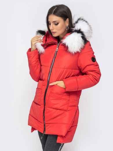 Зимняя куртка с удлиненной спинкой и капюшоном красная 41520, фото 2