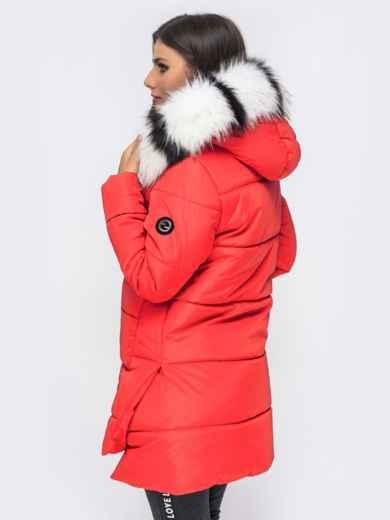 Зимняя куртка с удлиненной спинкой и капюшоном красная 41520, фото 3