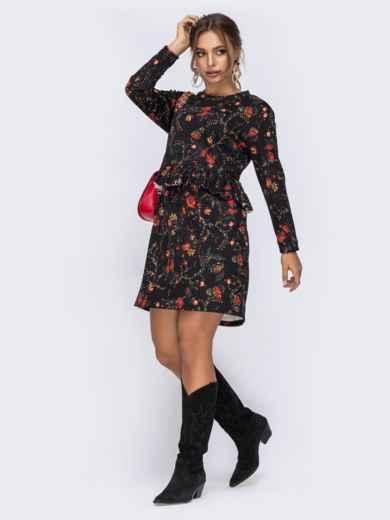 Чёрное платье с цветочным принтом и оборкой по талии - 42521, фото 2 – интернет-магазин Dressa
