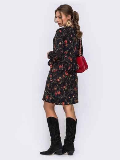 Чёрное платье с цветочным принтом и оборкой по талии - 42521, фото 3 – интернет-магазин Dressa