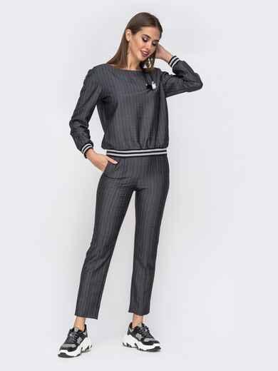 Чёрный комплект из укороченных брюк и кофты 42501, фото 1