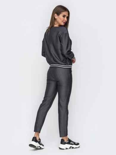 Чёрный комплект из укороченных брюк и кофты 42501, фото 2