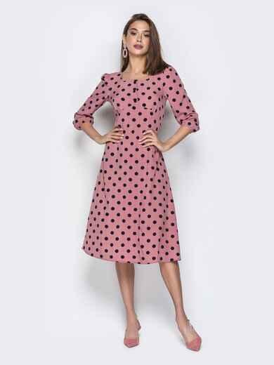 Розовое платье из софта в горох с отрезным лифом - 21026, фото 1 – интернет-магазин Dressa