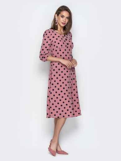 Розовое платье из софта в горох с отрезным лифом - 21026, фото 2 – интернет-магазин Dressa