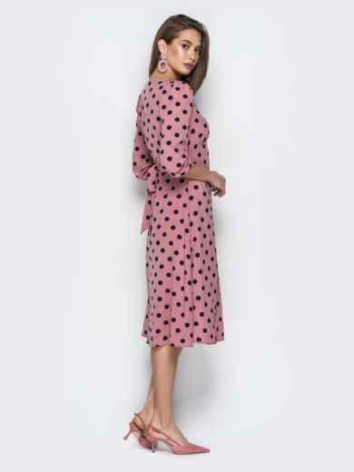 Розовое платье из софта в горох с отрезным лифом - 21026, фото 3 – интернет-магазин Dressa