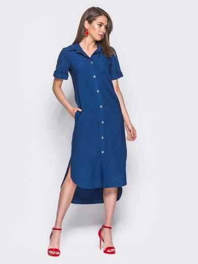 Синее льняное платье-рубашка с удлиненной спинкой - 11198, фото 1 – интернет-магазин Dressa