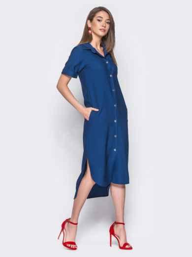 Синее льняное платье-рубашка с удлиненной спинкой - 11198, фото 2 – интернет-магазин Dressa