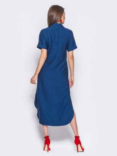 Синее льняное платье-рубашка с удлиненной спинкой - 11198, фото 3 – интернет-магазин Dressa