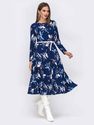 Синее платье с растительным принтом и расклешенной юбкой - 42519, фото 2 – интернет-магазин Dressa