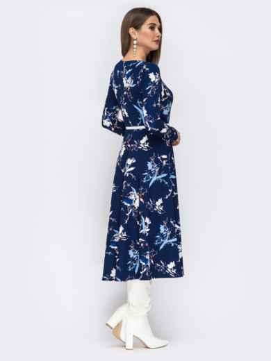 Синее платье с растительным принтом и расклешенной юбкой - 42519, фото 3 – интернет-магазин Dressa