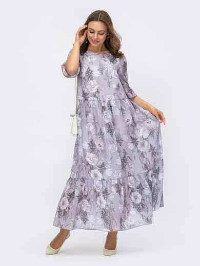 Свободное платье-макси из шифона с принтом сиреневое 54165, фото 1