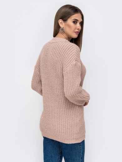 Свободный свитер крупной вязки с V-вырезом пудровый 41578, фото 2