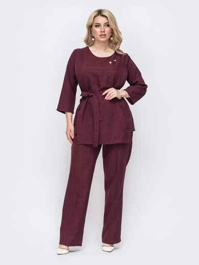 Бордовый комплект большого размера из кофты и брюк 49920, фото 1