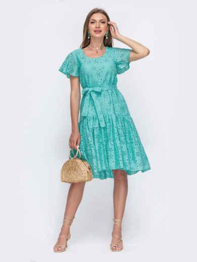 """Платье из прошвы с рукавом """"крылышко"""" бирюзовое 54336, фото 1"""