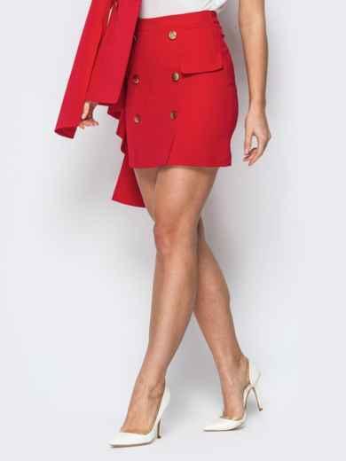 Красная юбка-мини с декоративными клапанами - 19771, фото 2 – интернет-магазин Dressa