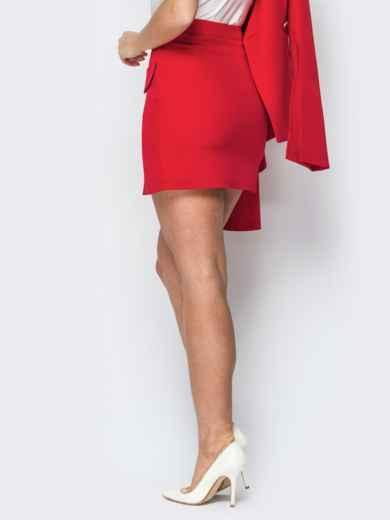 Красная юбка-мини с декоративными клапанами - 19771, фото 3 – интернет-магазин Dressa