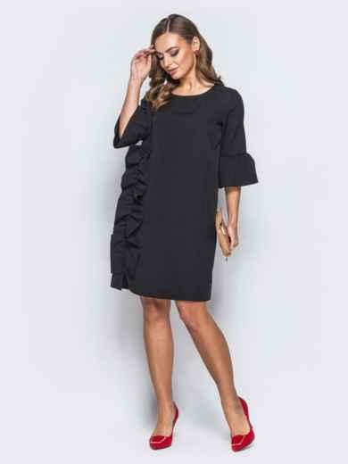 Платье черного цвета с объемной рюшей сбоку - 17972, фото 2 – интернет-магазин Dressa