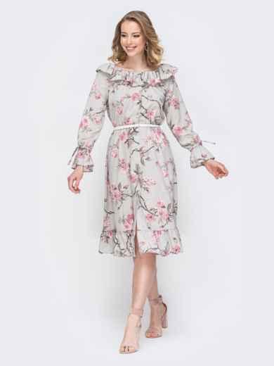 Платье с принтом и воланом по вырезу серое 45552, фото 2