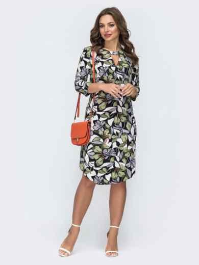 Платье с принтом и закругленным низом 45430, фото 2
