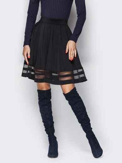 Расклешенная юбка с фатиновыми вставками чёрная 22614, фото 1